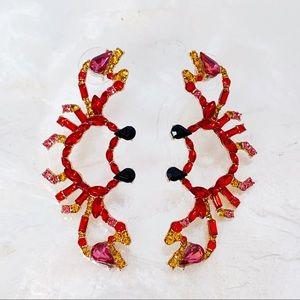 """Red Crab Rhinestone Dangle Earrings """"Cancer"""" NEW"""